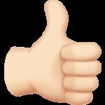 Смайл Палец вверх; лайк (светлый тон) ВКонтакте