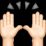 Смайл Поднял руки над собой (светлый тон) ВКонтакте