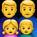 Смайл Семья из двух мужчин с одной девочкой и одним мальчиком ВКонтакте