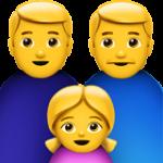 Смайл Семья из двух мужчин с одной девочкой ВКонтакте