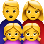 Смайл Семья мужчины и женщины с двумя девочками ВКонтакте