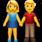 Смайл Женщина и мужчина держатся за руки ВКонтакте