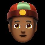 Смайл Мужчина в шапке гуань-пи-мао (тюбитейка) (темно-коричневый тон) ВКонтакте