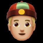 Смайл Мужчина в шапке гуань-пи-мао (тюбитейка) (светло-коричневый тон) ВКонтакте
