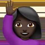Смайл Счастливый человек поднял одну руку (черный тон) ВКонтакте