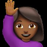 Смайл Счастливый человек поднял одну руку (темно-коричневый тон) ВКонтакте