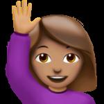 Смайл Счастливый человек поднял одну руку (оливковый тон) ВКонтакте