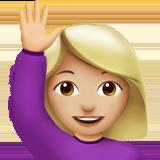 Смайл Счастливый человек поднял одну руку (светло-коричневый тон) ВКонтакте