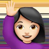Смайл Счастливый человек поднял одну руку (светлый тон) ВКонтакте