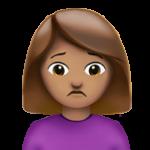 Смайл Человек с хмурым лицом (оливковый тон) ВКонтакте