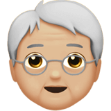 Смайл Пожилой человек: средне-светлый тон кожи ВКонтакте