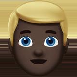 Смайл Человек со светлыми волосами (черный тон) ВКонтакте