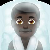 Смайл Человек в парной: темный оттенок кожи ВКонтакте