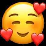 Смайл Улыбающееся лицо с сердечками ВКонтакте