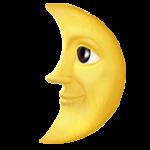 Смайл Луна в первой четверти с лицом ВКонтакте